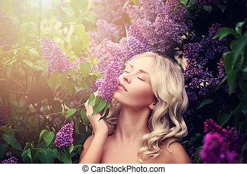 美しい, 夏, 女, ライラック, 若い, n, 肖像画, 花