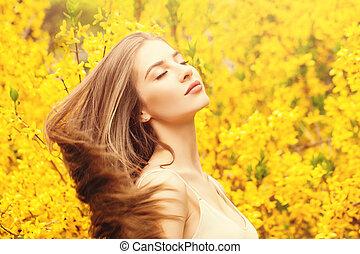 美しい, 夏, 女, 太陽, 楽しむ, 背景, 花