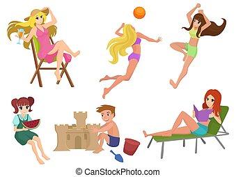 美しい, 夏, 女, 建物, 子供, volleyball., ベクトル, 弛緩, 読書, 砂, セット, かわいい少女, 遊び, 浜, castle., actions.