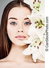 美しい, 夏, 女, 自然, 春, 構造, 肖像画, 白い花, ユリ, ∥あるいは∥