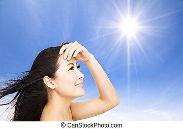 美しい, 夏, 女, 若い, 日光, バックグラウンド。, 概念, スキンケア