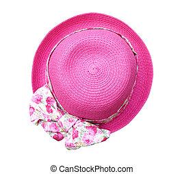 美しい, 夏, 女, 隔離された, 花, 背景, 白, path), 帽子, (clipping