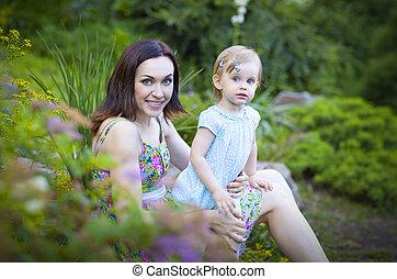 美しい, 夏, 娘, 公園, 若い, 母