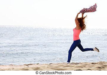 美しい, 夏, 旅行, 腕, 朗らかである, 女性, 微笑, 幸福, ダンス, 概念, 若い, 至福, 浜,...