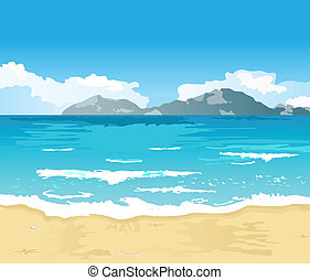 美しい, 夏, 浜, 背景