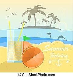 美しい, 夏, 海岸, オレンジ, バックグラウンド。, ベクトル, juice., 休日, 光景
