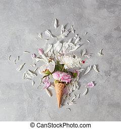 美しい, 夏, 石, 花, ウエハース, pion, 平ら, 挨拶, 花弁, 灰色, 位置, カップ, テーブル。, カード