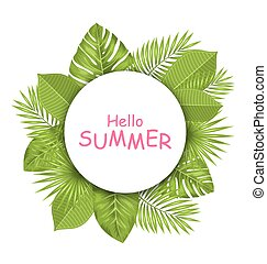 美しい, 夏, 葉, トロピカル, 緑, デザイン, カード