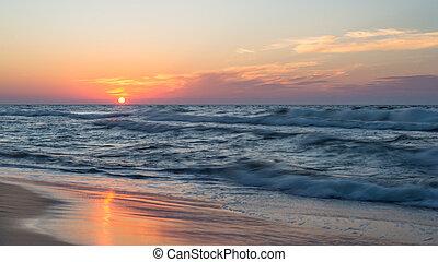 美しい, 夏, evening., 日没, 海, 波, 荒い, 暑い