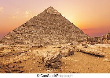 美しい, 夕方, ギザ, エジプト, ピラミッド, 太陽, khafre