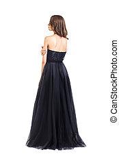 美しい, 夕方, 若い, 背中, 女, 黒いドレス, 光景