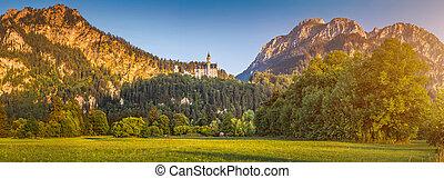 美しい, 夕方, bavaria, ライト, neuschwanstein, ドイツ, world-famous, 城, fussen