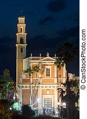 美しい, 夕方, jaffa., israel., 使徒, aviv., 教会, ∥電話番号∥, ピーター, 光景
