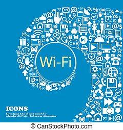 美しい, 大きい, セット, ネットワーク, アイコン, アイコン, 印。, 中心, twisted, 無料で, 1(人・つ), 無線, ベクトル, wifi, らせん状に動きなさい, icon., wi - fi, シンボル。, すてきである