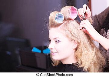 美しい, 大広間, 美しさ, 美容師, 毛, ブロンド, カーラー, 女の子, ローラー