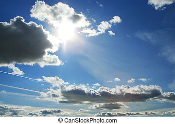 美しい, 太陽, 青, 雲, 空