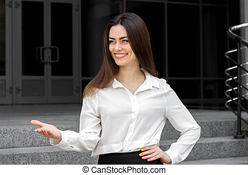 美しい, 女の子の微笑, ビジネス, 若い