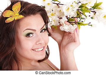 美しい, 女の子, ∥で∥, 春の花, そして, butterfly.