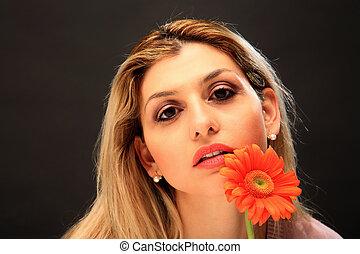 美しい, 女の子, ∥で∥, 花