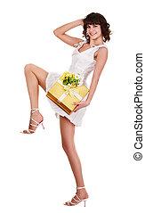 美しい, 女の子, ∥で∥, 贈り物の箱, そして, flower.