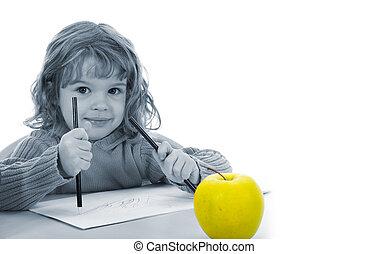 美しい, 女の子, ∥で∥, 鉛筆