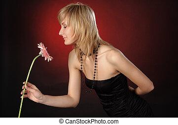 美しい, 女の子, ∥で∥, a, 花
