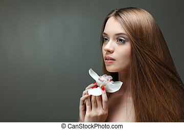 美しい, 女の子, ∥で∥, a, 花, 感情, 化粧品