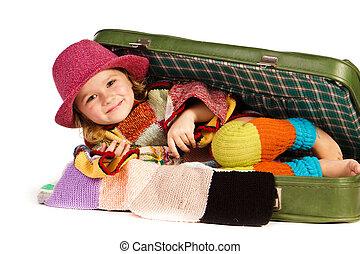 美しい, 女の子, スーツケース