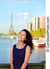 美しい, 女の子, パリ, フランス