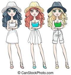 美しい, 女の子, ファッション, 帽子, ベクトル
