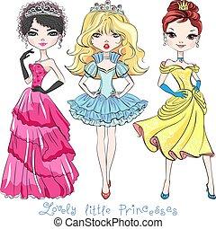 美しい, 女の子, ベクトル, ファッション, プリンセス