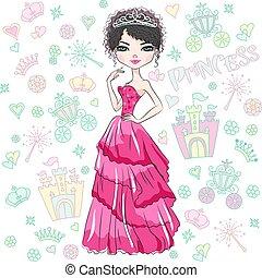 美しい, 女の子, ベクトル, ファッション, 王女