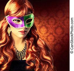 美しい, 女の子, マスク, カーニバル