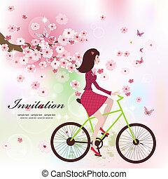 美しい, 女の子, 上に, ∥, 自転車