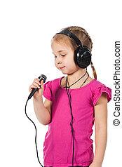美しい, 女の子, 中に, ヘッドホン, ∥で∥, マイクロフォン, 歌うこと
