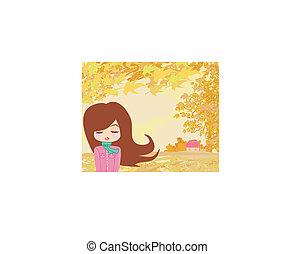 美しい, 女の子, 中に, 秋