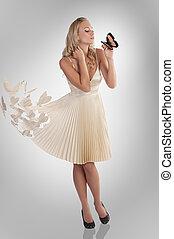 美しい, 女の子, 中に, 蝶, 服