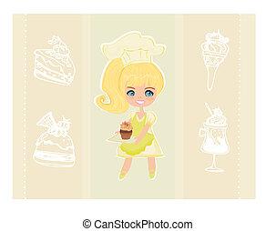 美しい, 女の子, 料理, ケーキ