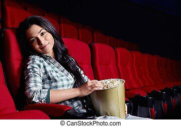 美しい, 女の子, 映画館