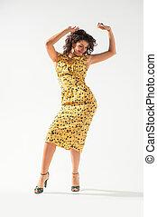 美しい, 女の子, 服, 黄色, ダンス