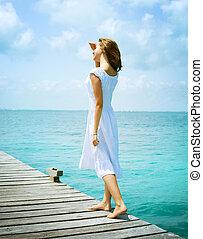 美しい, 女の子, 桟橋, 海洋
