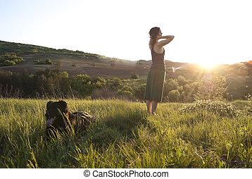 美しい, 女の子, 犬, 彼女
