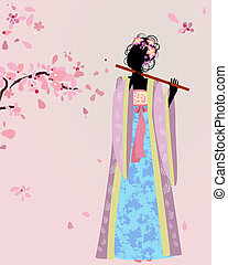 美しい, 女の子, 着物, sakura, 下に