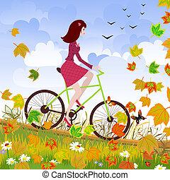 美しい, 女の子, 自転車