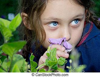 美しい, 女の子, 花