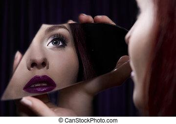 美しい, 女の子, 鏡