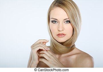 美しい, 女の子, 隔離された, 上に, a, 白い背景, 感情, 化粧品