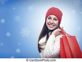 美しい, 女の子, clothing., 冬
