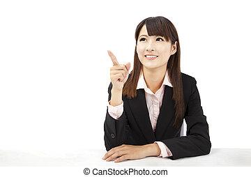 美しい, 女性実業家, アジア人, 指すこと, 何か