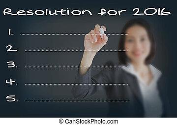 美しい, 女性実業家, リスト, /, ゴール, 年, 新しい, resolutions, 2016